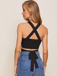 Crisscross Detail Tie Back Halterneck Top