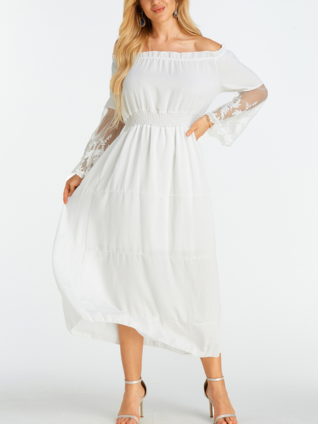 Yoins White Lace Insert Off The Shoulder Flared Sleeves Dress