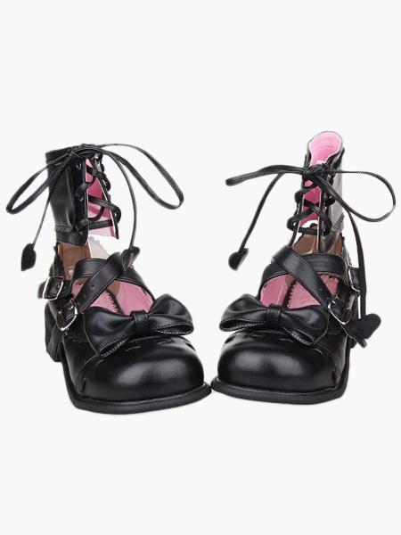 Milanoo High Heel Special Ankle Design PU Lolita Shoes