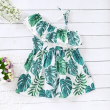 Toddler Girls Asymmetric Neck Tropical Print Dress