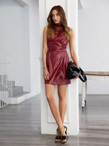 Solid Belted PU Leather Wrap Dress