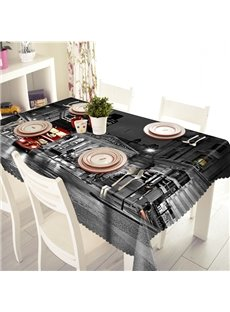 Black City Night Scenery Pattern 3D Tablecloth