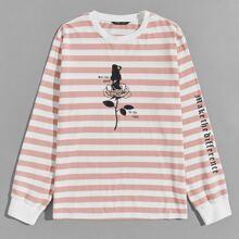 T-Shirt mit vermischtem Muster und Streifen