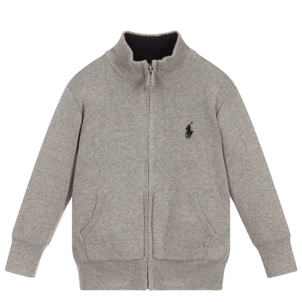 Ralph Lauren Grey Knit Zip-Up Cardigan Colour: GREY, Size: 6 YEARS