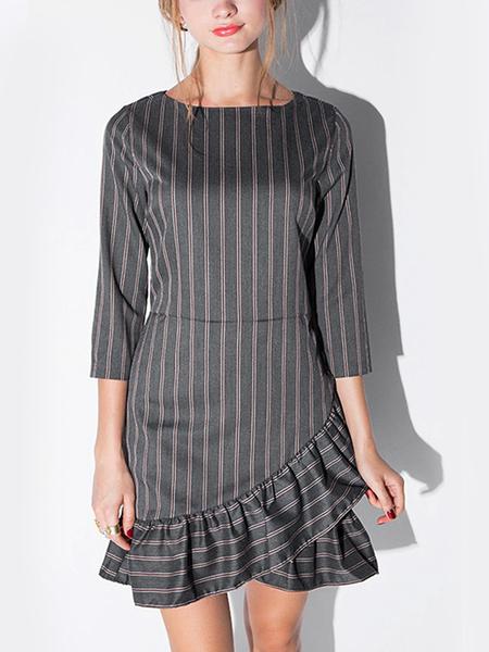 Yoins Stripe Irregular Flounced Hem Dress