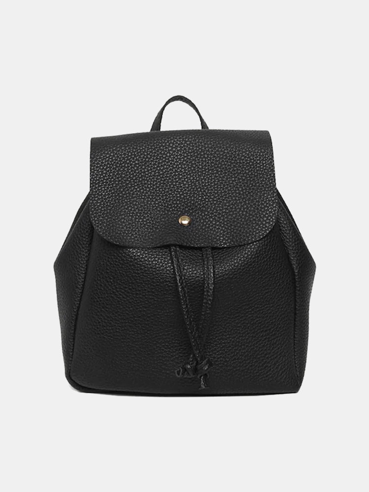 Women Flip CoverDrawstring Decor PU Mini Backpack