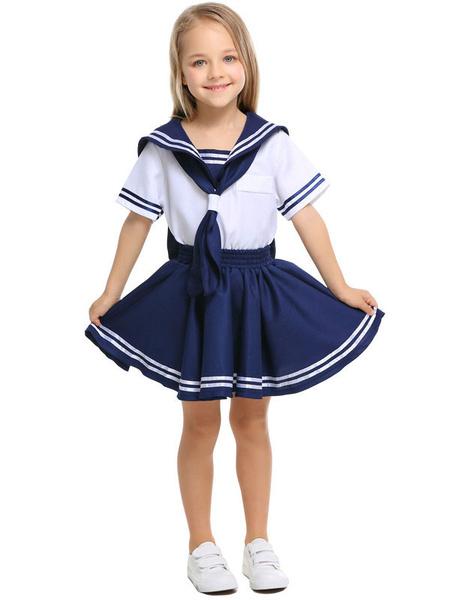 Milanoo Halloween Costumes For Kids Dark Navy School Girl Kid\'s Top Skirt