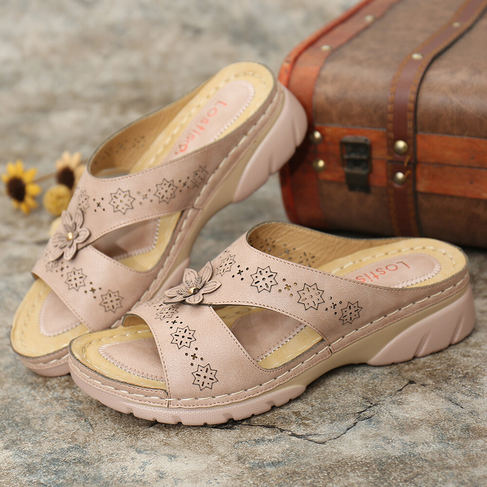 LOSTISY Women Hollow Out Comfy Wearable Wedges Slippers
