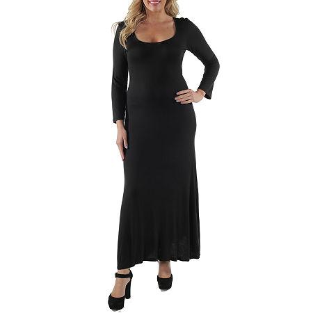 24/7 Comfort Apparel-Plus Scoop Neck Maxi Dress, 2x , Black