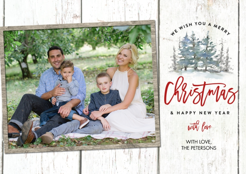 Christmas Photo Cards 5x7 Cards, Premium Cardstock 120lb, Card & Stationery -Christmas Rustic Trees by Tumbalina