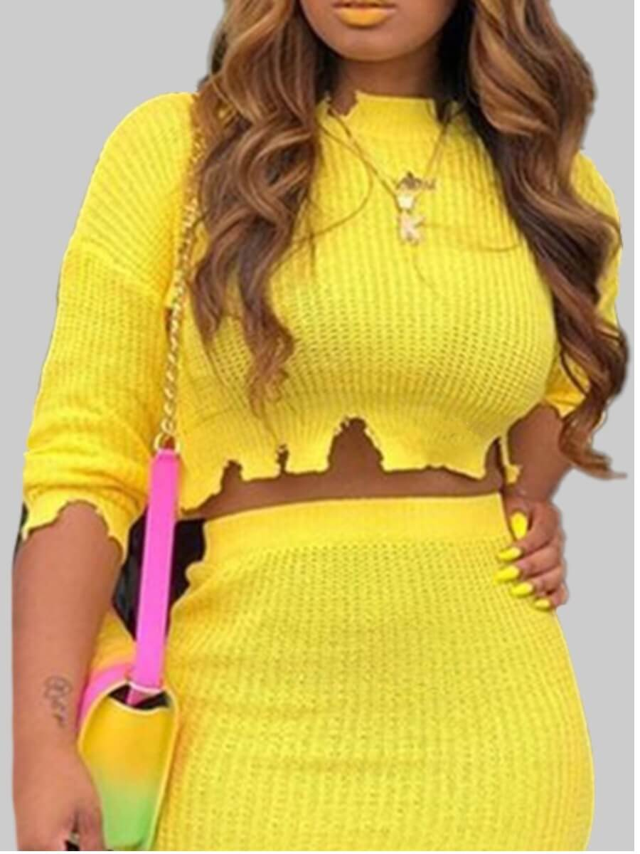 LW Lovely Stylish O Neck Asymmetrical Yellow Sweater