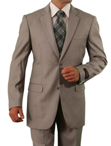2 Button Tan Front Closure Slim Fit Suit Mens Cheap