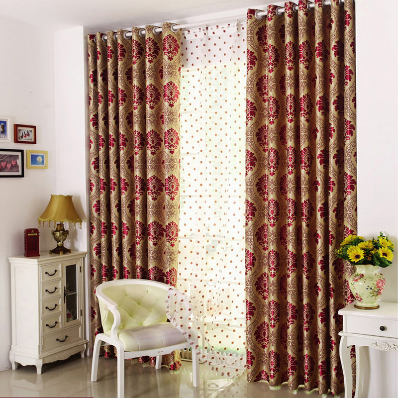 Gold Floral Embroidery Soft Blackout Curtain 2 Panels Grommet Drapes