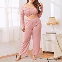 Pijamas de Talla Grande Liso Elegante