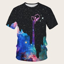 Maenner T-Shirt mit 3D Galaxis Muster
