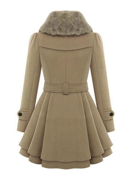 Milanoo Red Wrap Coat Long Sleeve Peacoat Faux Fur Collar Belt Winter petticoat coat