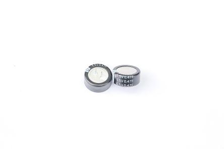 RS PRO 0.47F Supercapacitor EDLC -20 %, +80 % Tolerance 5.5V dc (1600)