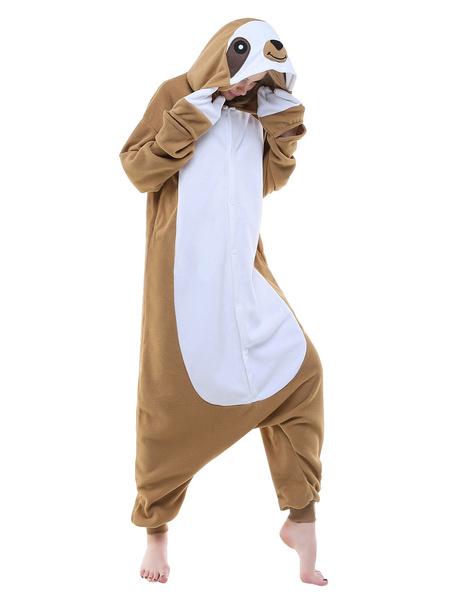 Milanoo Kigurumi Pajamas Sloth Onesie Adults Flannel Unisex Sleepwear Animal Costume Halloween