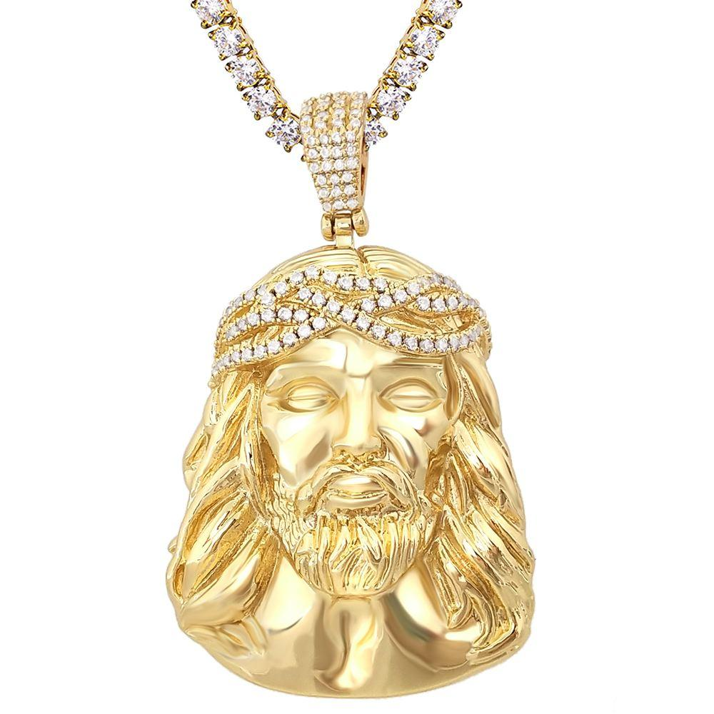 Jesus Piece Detailed Pendant in White / Yellow Gold