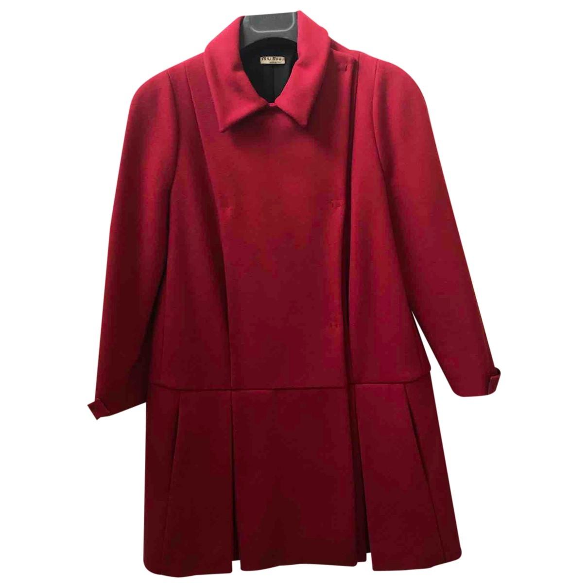 Miu Miu - Manteau   pour femme en laine - rouge