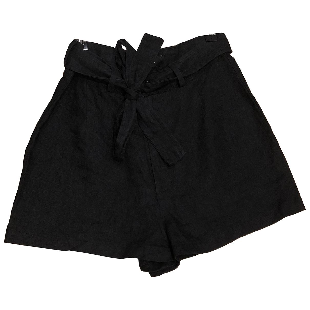 Reformation \N Shorts in  Schwarz Leinen