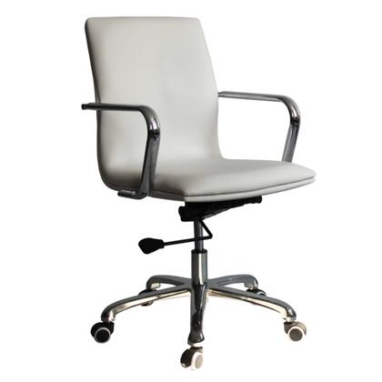 Confreto Collection FMI10170-WHITE Office Chair with Adjustable Height  Mid Back  Casters  Removable Arms  Stainless Steel Frame and Leatherette