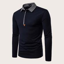 Camisa polo de hombres de cuello en contraste