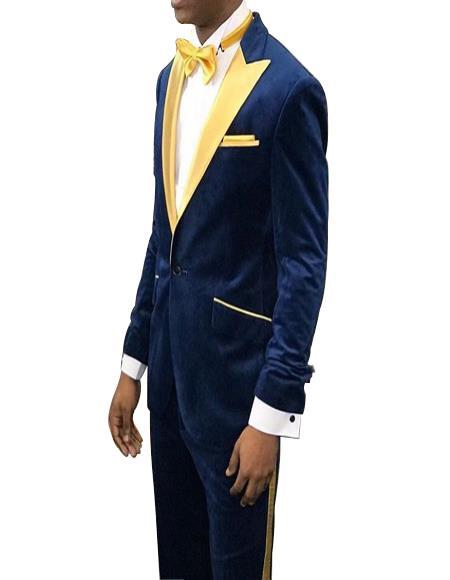 Navy Blue Velvet Gold Lapel Tuxedo Dinner Jacket Blazer Sport Coat
