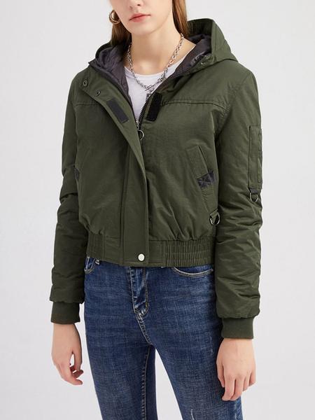 Milanoo Women Quilted Coats Hunter Green Hooded Zipper Long Sleeves Casual Winter Coat