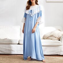 Contrast Yoke Embroidered Mesh Trim Nightdress