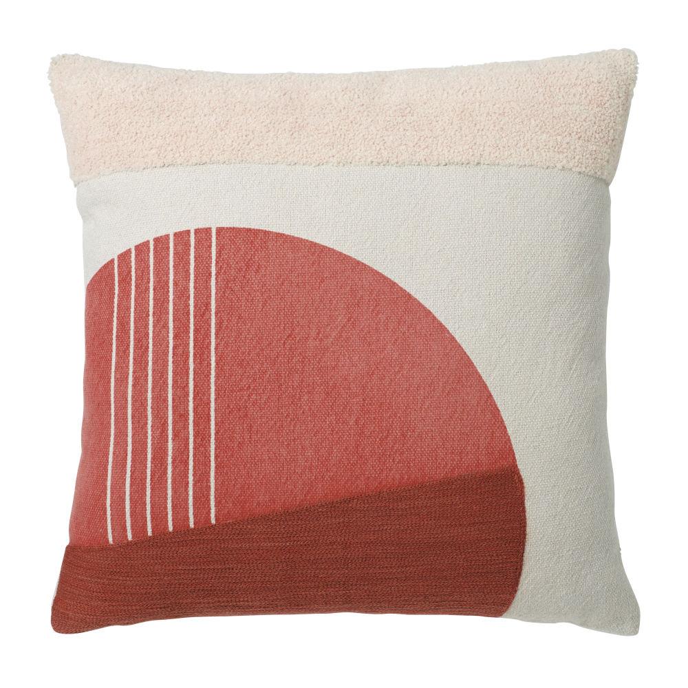 Baumwollkissen, ecru mit orange- und rosafarbenen Mustern 45x45