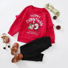 Toddler Girls Slogan & Christmas Print Sweatshirt With Sweatpants