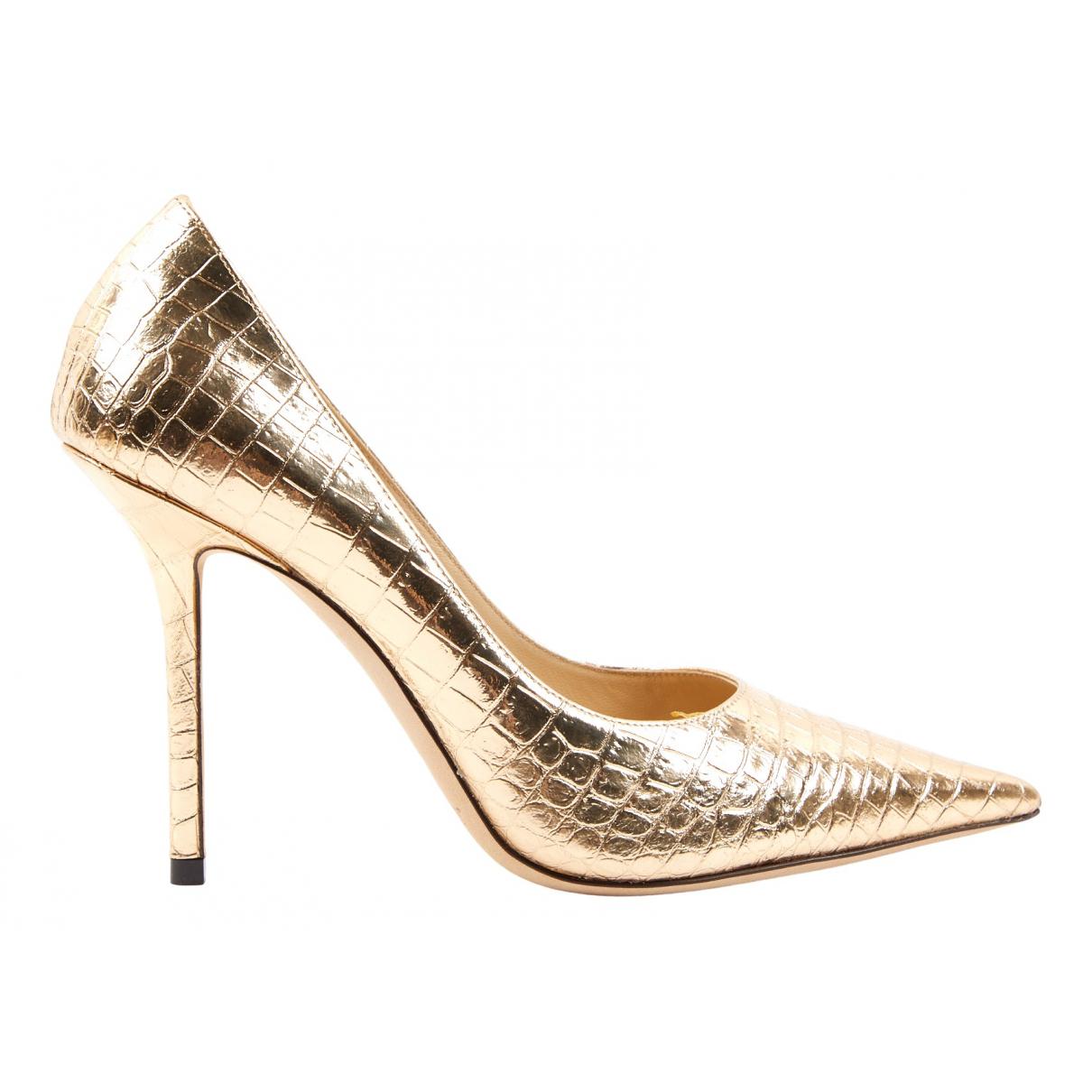 Jimmy Choo N Gold Leather Heels for Women 37.5 IT