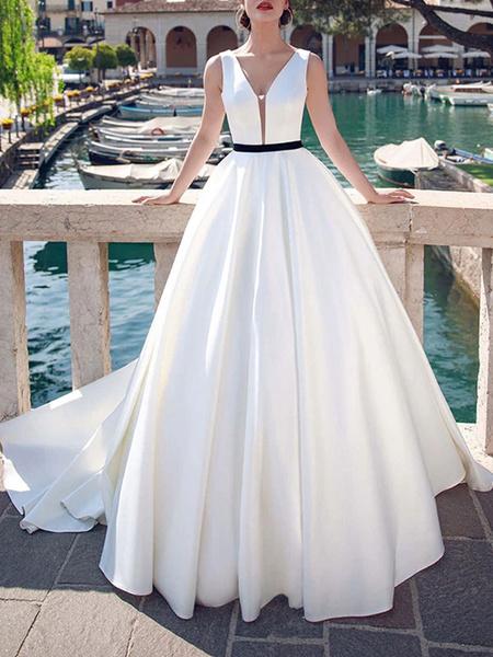 Milanoo Vintage Wedding Dresses V Neck Sleeveless Sash Satin Fabric Floor Length Princess Silhouette Bridal Dress