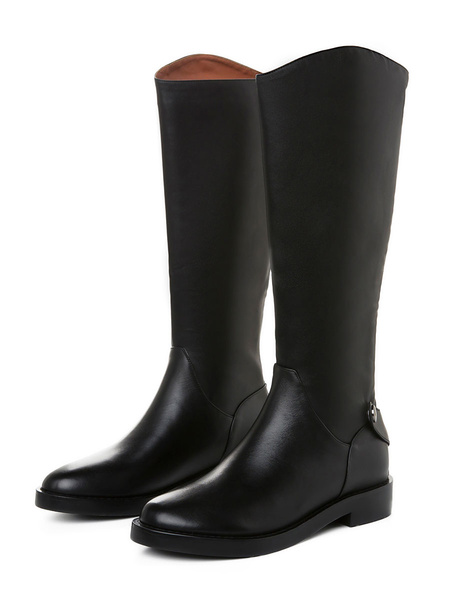 Milanoo Knee High Boots Womens Black Cowhide Round Toe Flat Heel Daily Casual Boots