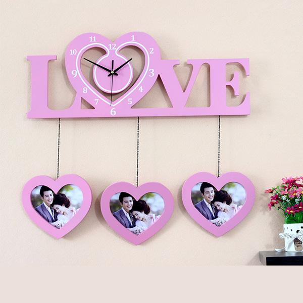 Romantic Heart-Shaped Clock and Photo Frames Wall Clock