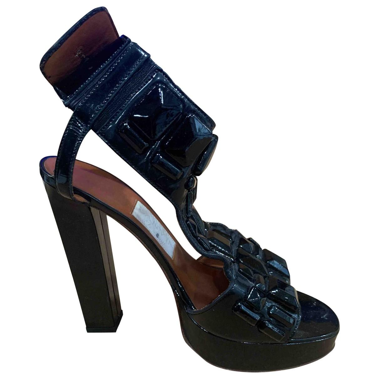 Lanvin - Sandales   pour femme en cuir verni - noir