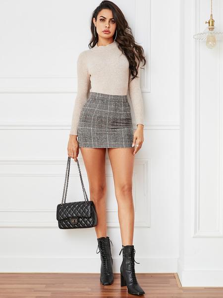 YOINS Grey Plaid High-Waisted Skirt