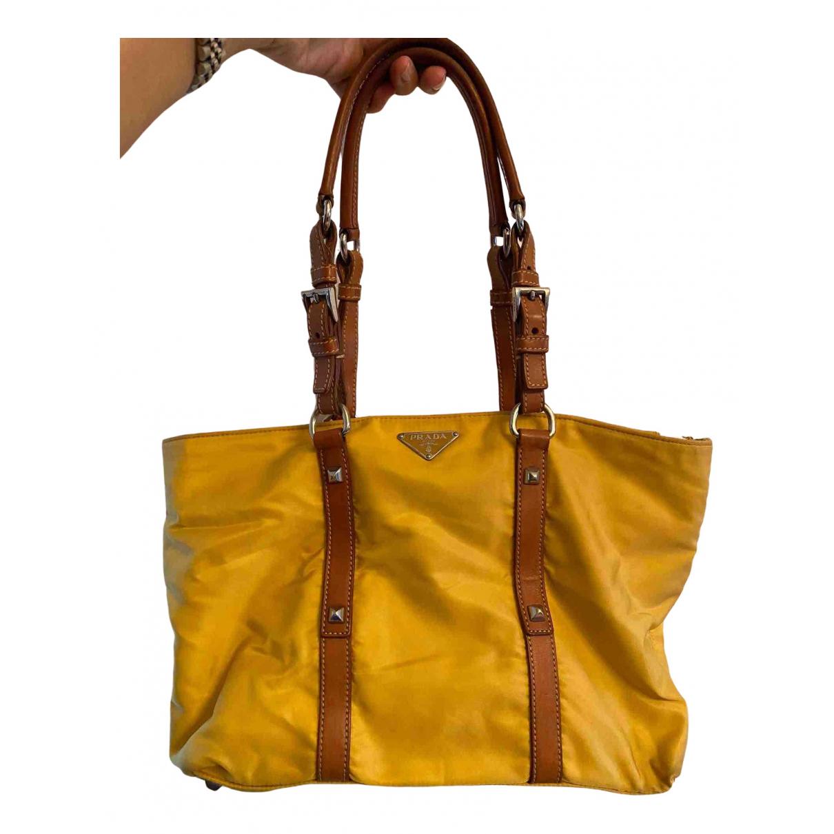 Prada Tessuto  Yellow Cloth handbag for Women N