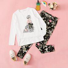 Maedchen Pullover mit Kunstpelz Detail, Figur Muster und Leggings Set