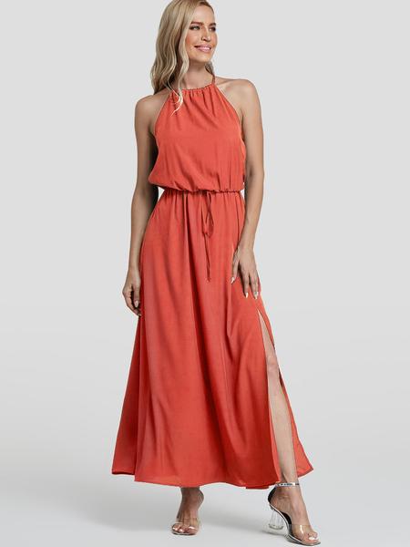 Yoins Orange Split Design Plain Halter Sleeveless Middle-Waisted Dress