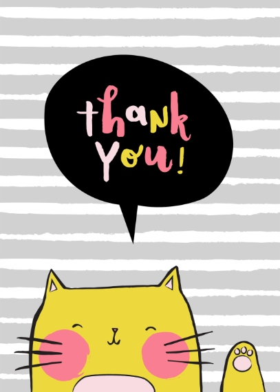 Thank You Cards 5x7 Folded Cards, Premium Cardstock 120lb, Card & Stationery -Thankful Cat