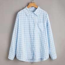 Plaid Pocket Front Button Up Blouse