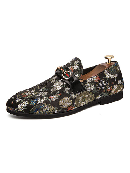 Milanoo Mens Loafer Shoes Slip-On Pointed Toe Flowral Printed Slip-On Mens Loafer Shoes