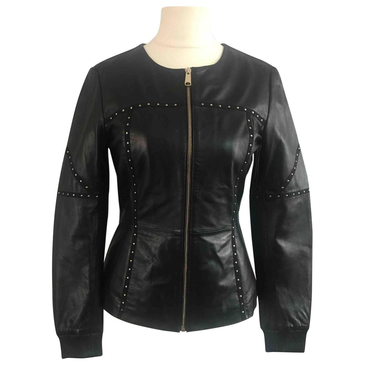 Max & Co - Veste   pour femme en cuir - noir