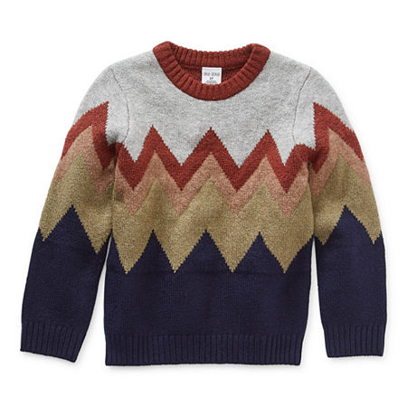 Okie Dokie Toddler Boys Crew Neck Long Sleeve Pullover Sweater, 2t , Multiple Colors