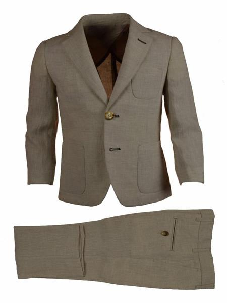 Mens Single Breasted Notch Lapel Tan Linen With Elbow Patches Suit