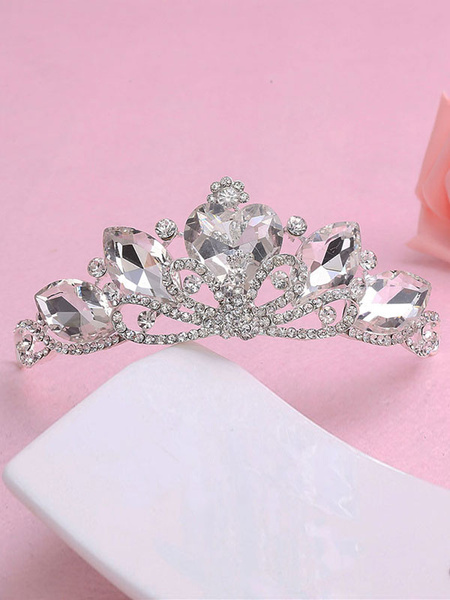 Milanoo Princess Tiara Wedding Silver Crown Bridal Headpieces Rhinestones Royal Hair Accessories
