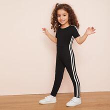 Kleinkind Maedchen T-Shirt Jumpsuit mit Streifen