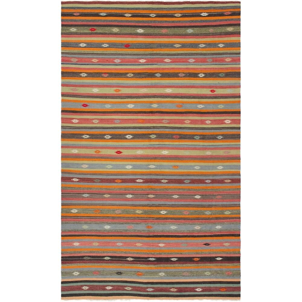 ECARPETGALLERY Flat-weave Bohemian Dark Copper, Khaki Wool Kilim - 5'9 x 10'6 (Dark Copper/ Khaki - 5'9 x 10'6)